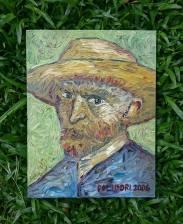 """Ensaio sobre Van Gogh, óleo sobre tela. 🌿 [Releirura de """"Auto-retrato com chapéu de palha."""" - Paris, verão de 1887]."""