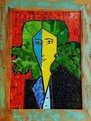 """TÍTULO: Lydia DIMENSÕES: 50x70 cm VALOR: R$ 7.500,00 DESCRIÇÃO: Quadro. 2017. Releitura da obra de Matisse """"Lydia"""". Mosaico Contemporâneo em vidro (fusing), smalti italiano, vitral e millifiori. Moldura em madeira de demolição."""