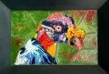 TÍTULO: Urubu-Rei DIMENSÕES: 39x25 cm VALOR: R$ 3.900,00 DESCRIÇÃO: Quadro. 2017. Obra realizada a partir da fotografia de Carlos Renato Fernandes. Mosaico Contemporâneo em vidro (fusing) e smalti italiano. Moldura em madeira.